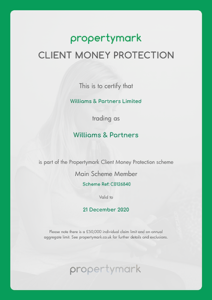 Client Money Protection - Certificate (Email)